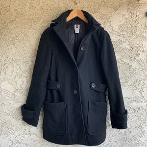 GAP Wool Button Up Pea Coat with Removable Hood
